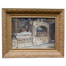 Haddon Hall Interior Oil Painting, Frank Moss Bennett (1874-1953) Listed English Artist