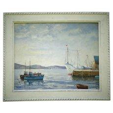 Marine Oil Painting Fishing Boats, Hugh Boycott Brown (1909-1990)