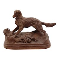 "Large Carved Black Forest Sporting Hunting Dog, 13"" Long"