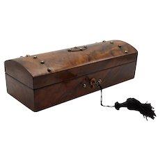 Antique English Figured Walnut Box, Lock & Key Jewelry Pen & Pencil
