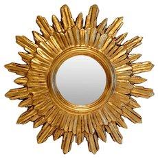 Vintage French Gilt Sunburst Mirror