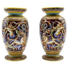 Antique French Gien Majolica Faience Urns Vases, Pair