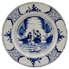 Antique Delft Chinoiserie Charger with Figures, Blue & White