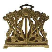 Early Art Nouveau English Brass Sunflower Letter Rack