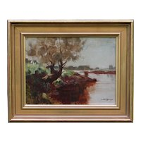 Landscape with River Impressionism Oil Painting Arthur Spooner NSA (1873-1962)