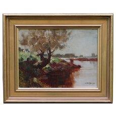 Landscape with River Impressionism Oil Painting Arthur Spooner NSA (1873-1962)