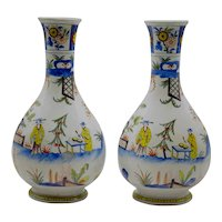 Antique Delft Chinoiserie Polychrome Vases, Pair