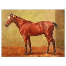 Chestnut Bay Horse in a Stable Oil George Paice