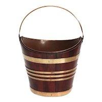Antique Dutch Mahogany & Brass Navette Bucket Wine Cooler / Jardiniere