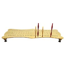 Early English Brass Cribbage Game with Pegs