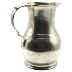 Antique French Pewter Jug Pitcher