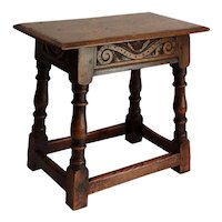 Antique English Elm Pegged Joint Stool Hand Carved