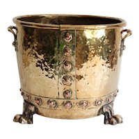 Large English Antique Brass Jardiniere Planter