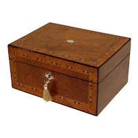 Large Antique Figured Walnut Jewelry Box, Lock & Key