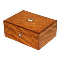 Antique English Figured Satinwood Jewelry Box, Lock & Key
