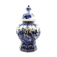 Antique Lidded Dutch Delft Urn With Bird