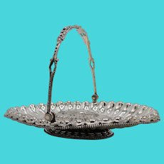 19th Century Silver Plated Bride's Basket