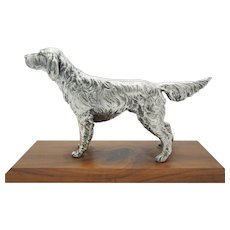 Vintage Silver Plated Sporting Dog on Wooden Base