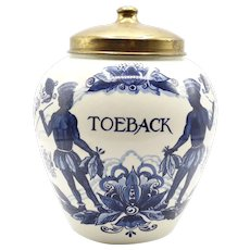 Dutch Delft Brass Lidded Toeback Jar (Tobacco)