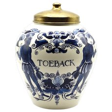Dutch Delft Lidded Toeback Jar Tobacco