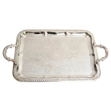 Vintage Silver Plate Serving Tray with Handles