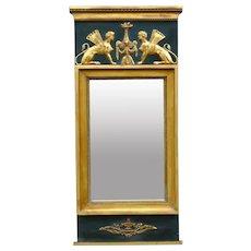 Mid Century Swedish Neoclassical Beveled Mirror