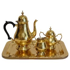 Vintage Hammered Brass Coffee Tea Pot Set with Tray