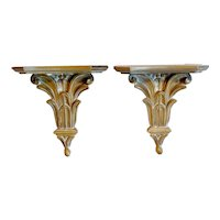 Italian Neoclassical Style Wall Brackets Shelves, Pair