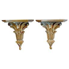 Italian Neoclassical Style Wall Brackets Shelves, Pair