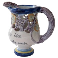 French Quimper Puzzle Jug Pitcher