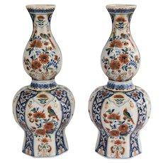 19th-Century Antique Large Dutch Double Gourd Delft Vases - a Pair