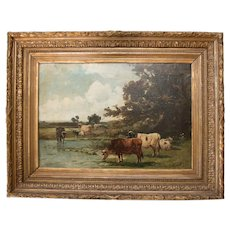 Antique Landscape With Cattle Watering Oil Painting