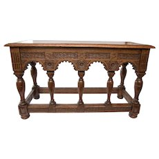 19th-Century Antique French Oak Bench