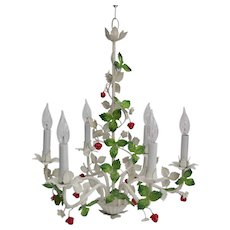 Mid-20th Century Italian Tole Berry Chandelier