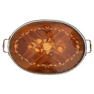 English Edwardian Mahogany & Brass Serving Tray