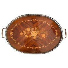 English Edwardian Mahogany & Brass Serving Tray