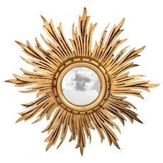 French Giltwood Sunburst Convex Mirror
