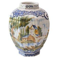 Antique 19th-Century Delft Faience Vase