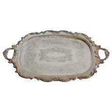"Large Vintage Silver Plate Serving Tray with Handles,  26"" Width"