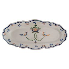 """19th-Century Hand Painted French Faience Platter, 25.5"""" Width"""