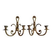 Mid Century French Solid Brass Wall Sconces, Pair Appliques