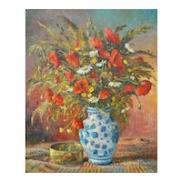 French Floral Still Life Oil on Canvas Painting, H Pol Poppies & Daisies