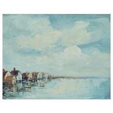 Mid 20th-C Impressionism Coastal Seaside Painting Atmospheric Artist Signed