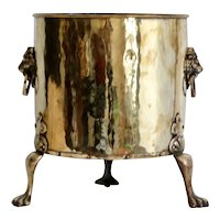 Large Antique English Brass Jardiniere / Planter / Log Bin