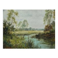 Stream in a Landscape Oil Painting Daniel Sherrin 1868-1940 Listed English Artist