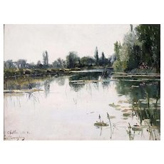 Water Lilies on Lake Antique Oil Painting, Eugene Dauphin (1857 - 1930)