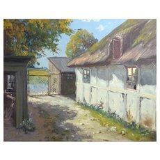 Farmhouse Oil Painting by Gustav P. Rimmer (1904 - 1966)