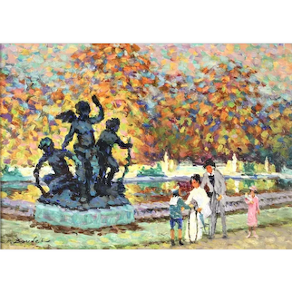 'Versailles' Post Impressionist Oil Painting by Listed French Artist Pierre Boudet (1915-2010)