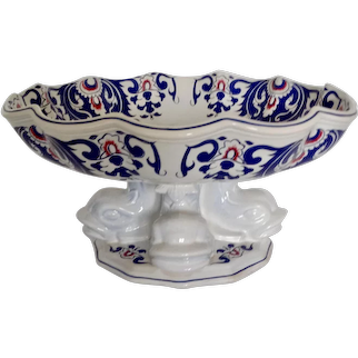 Antique French Rouen Koi Pedestal Chinoiserie Centerpiece Footed Bowl