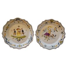19th-Century French Faience Hand Painted Antique Moustiers Plates, Pair